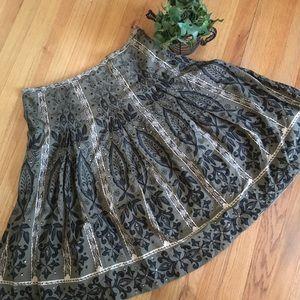 Olive green, black, and cream sequined full skirt